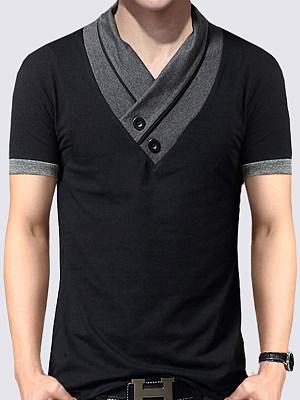 V-Neck Men Contrast Trim T-Shirt