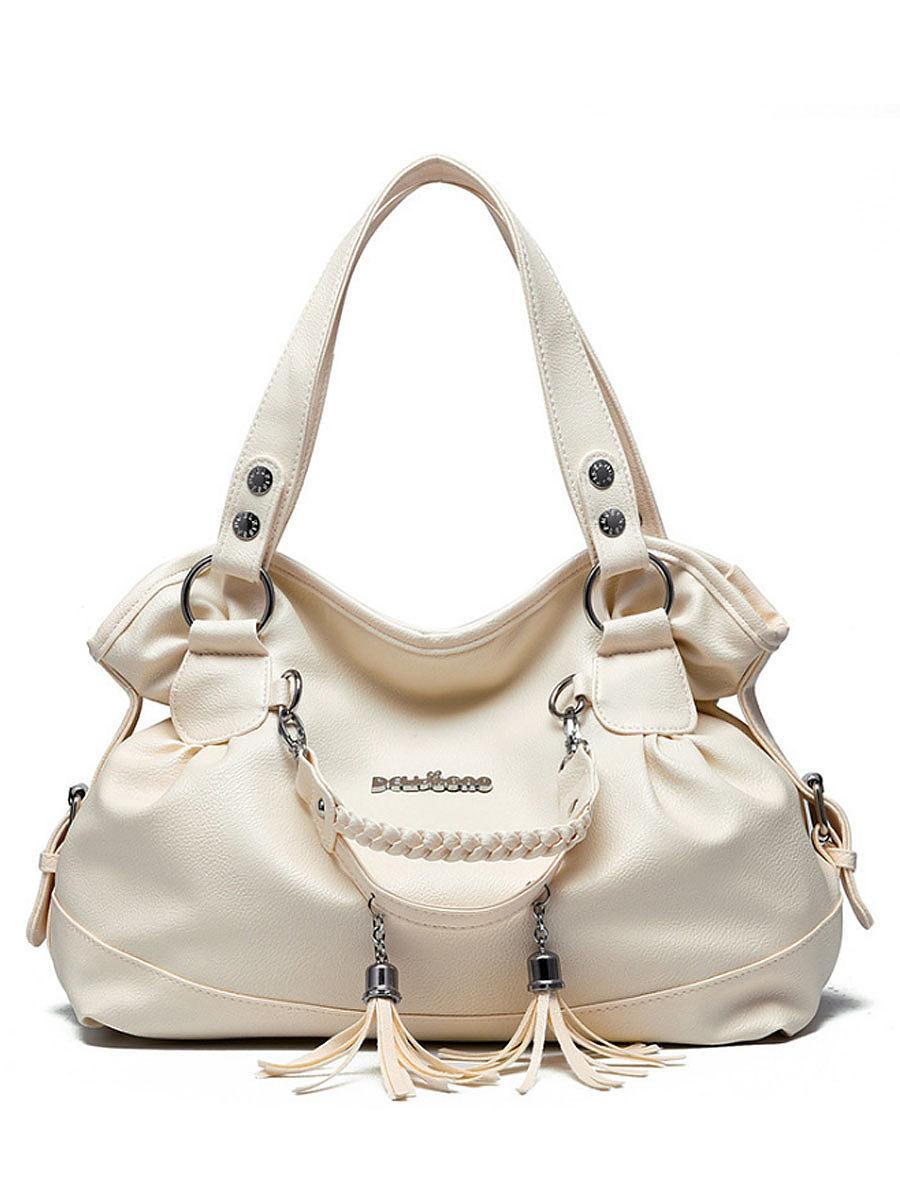 Tassel Pendant Soft Pu Shoulder Bag