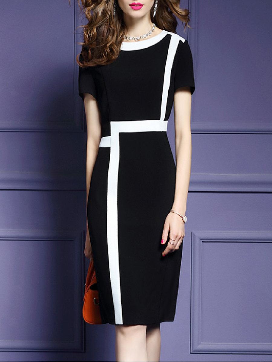 Round Neck  Color Block Bodycon Dresses