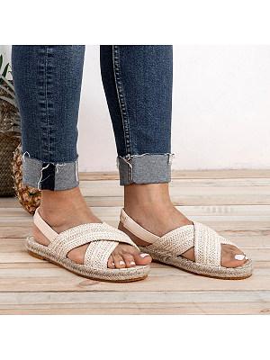 Plain Flat Peep Toe Casual Flat Sandals, 6794697
