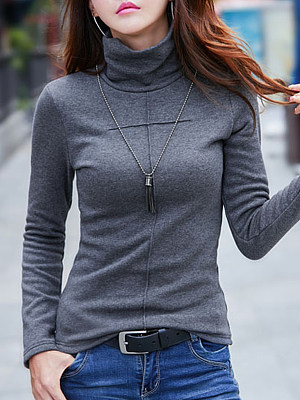 Heap Collar Brief Plain Long Sleeve T-Shirt, 9236577