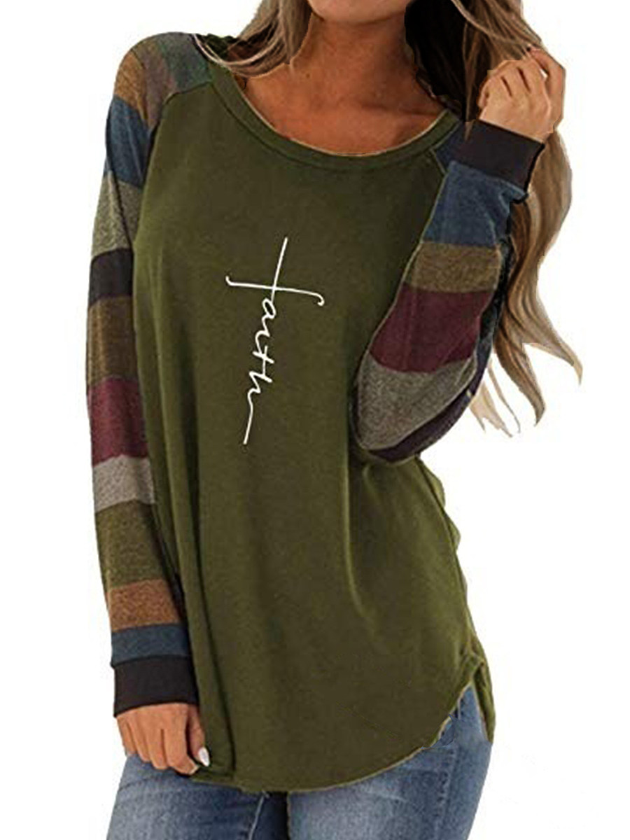 BerryLook Round  Neck  Patchwork  Casual  Color Block Letters  Long Sleeve T-Shirts