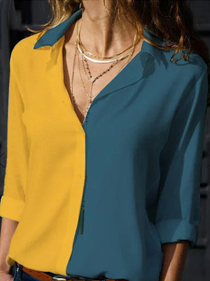 Turn Down Collar Patchwork Color Block Blouses