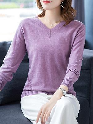 V Neck Patchwork Brief Plain Long Sleeve Knit Pullover, 8512025