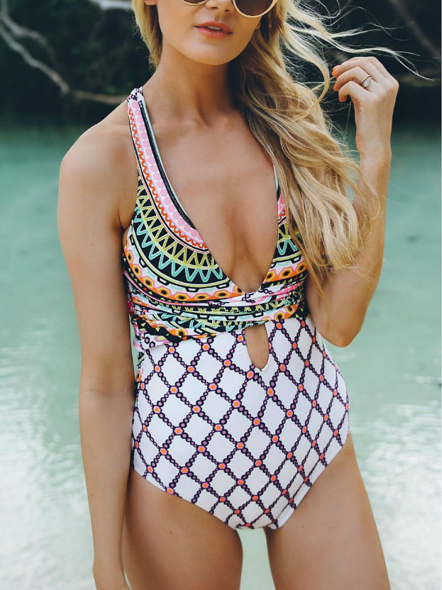 V-Neck Light Wash Tribal Printed One Piece Swimsuit