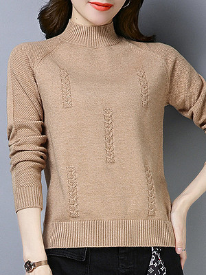 Short High Collar  Patchwork  Elegant  Plain  Long Sleeve  Knit Pullover