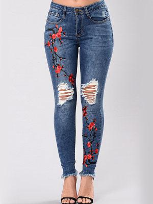 Distressed Embroidery Raw-Hem Slim-Leg Jeans, 3830272