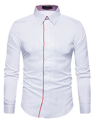 Fitted Turn Down Collar  Contrast Trim Men Shirts