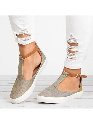 Color Block Plain Flat Ankle Strap Round Toe Casual Outdoor Sneakers, 6700714