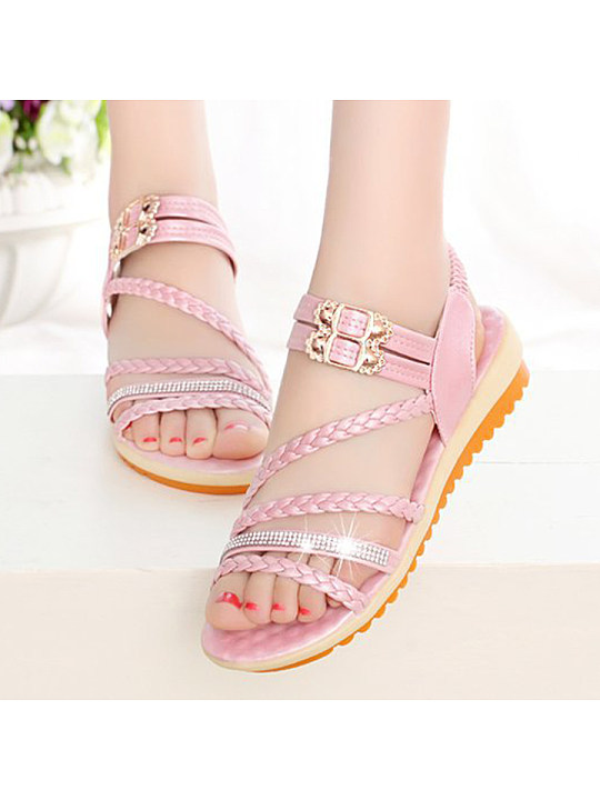 Plain Low Heeled Ankle Strap Peep Toe Casual Date Flat