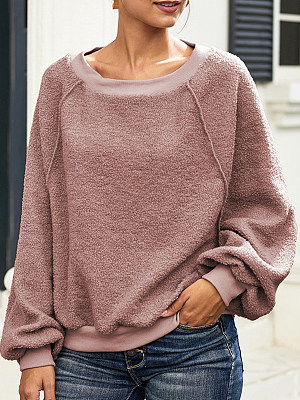 Casual Plain Long Sleeve Sweatshirt фото
