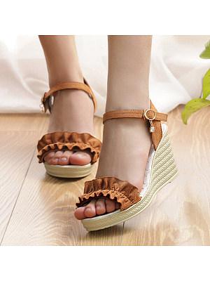 Plain Velvet Ankle Strap Peep Toe Casual Date Wedge Sandals