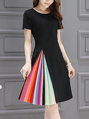 Round Neck  Ruffled Hem  Plain  Polyester Skater Dress