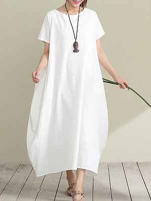 Round Neck Plain Maxi Dress, 6912509