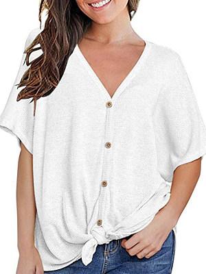 V Neck Lace Up Loose Fitting Single Breasted Plain Short Sleeve T-Shirts