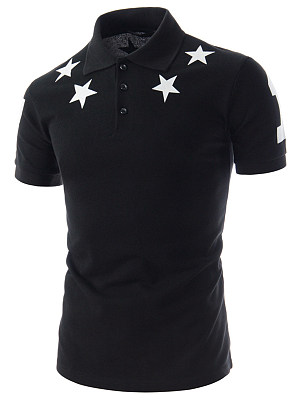 Polo Collar Men Star Number Printed T-Shirt фото