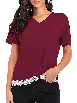 V Neck Patchwork Lace Short Sleeve T-Shirts, 7146802