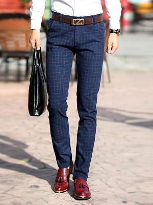 Check Straight Pocket Men's Casual Pants