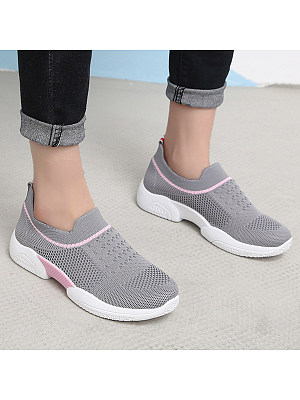 Color Block Flat Round Toe Casual Sneakers, 6633332