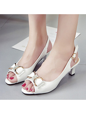 BERRYLOOK / Plain  Stiletto  Mid Heeled  Ankle Strap  Peep Toe  Date Sandals