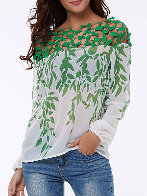 Boat Neck Floral Long Sleeve Blouses фото