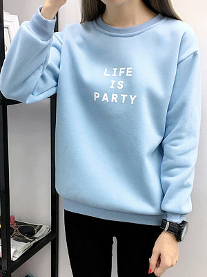 Brief Plain Long Sleeve Sweatshirt фото
