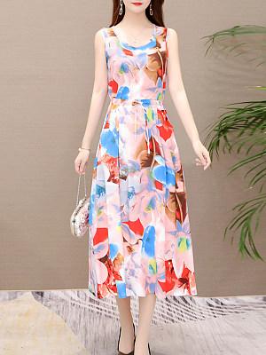 Round Neck Drawstring Patch Pocket Printed Maxi Dress, 7165762