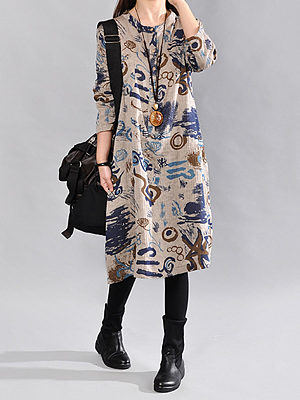 Round Neck  Decorative Buttons Slit Pocket  Graffiti Maxi Dresses
