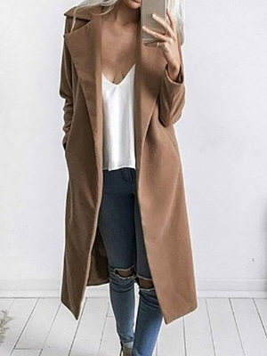Lapel Longline Plain Pocket Woolen Coat фото