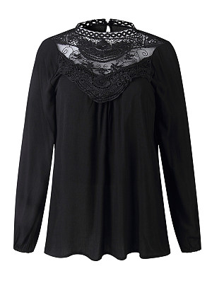 Band Collar Loose Fitting Lace Blouses