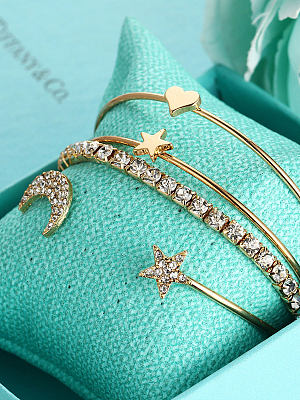 Four Pieces Faux Crystal Moon And Star Shape Chic Bracelets