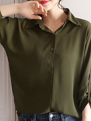 Turn Down Collar Loose Fitting Patchwork Plain Blouses