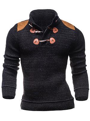 High Neck Decorative Patch Men Sweater