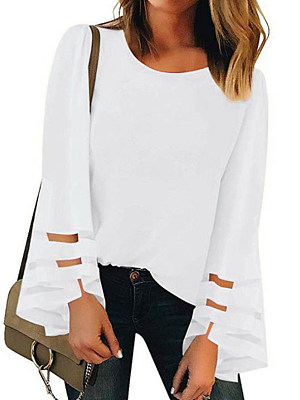 Round Neck Patchwork Elegant Plain Long Sleeve Blouse, 8801756