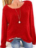 Image of Low Round Collar Fashion Plain Long Sleeve Knit Pullover