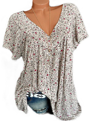 c98db07c892 V Neck Loose Fitting Floral Printed Blouses