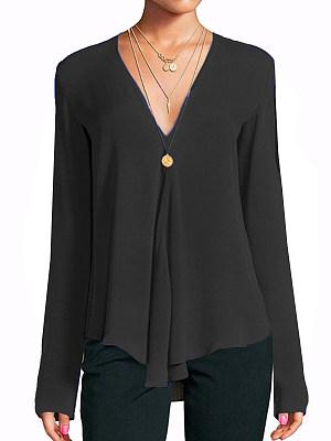 V Neck Patchwork Brief Plain Long Sleeve Blouse, 8568264