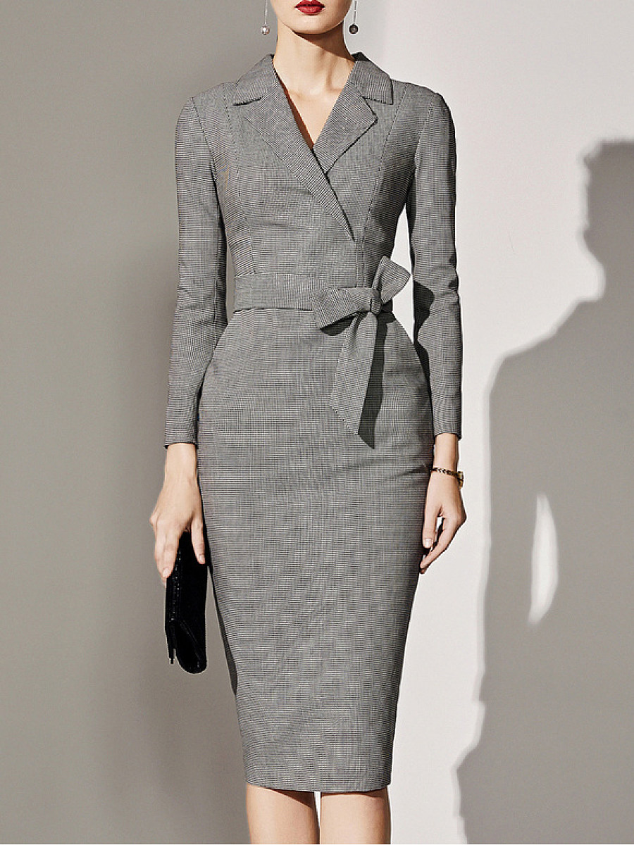 Fold-Over Collar  Plaid Bodycon Dress