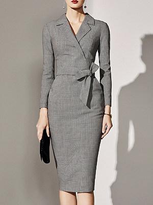 Fold-Over Collar Plaid Bodycon Dress, 5318283