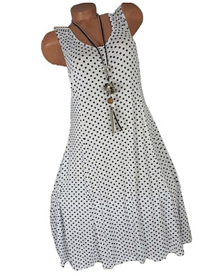 Round Neck Polka Dot Shift Dress, 6515880