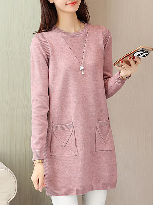 Round Neck Patch Pocket Plain Shift Dress, 9631077
