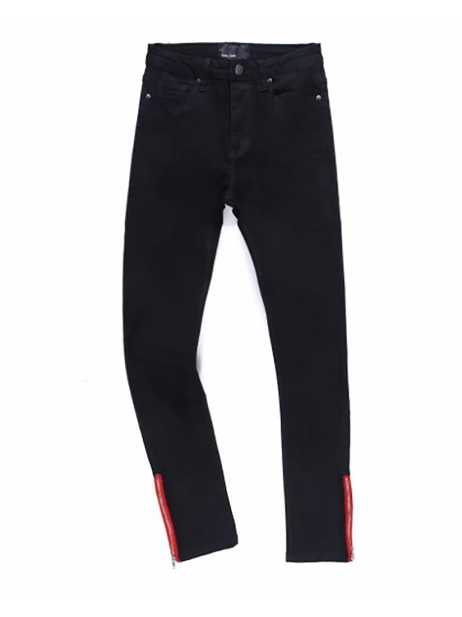 #jeans,Fashion Trousers Red Side Zipper Tight-Fitting Stretch Jeans