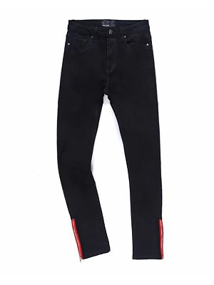 Fashion Trousers Red Side Zipper Tight-Fitting Stretch Jeans, 8560024