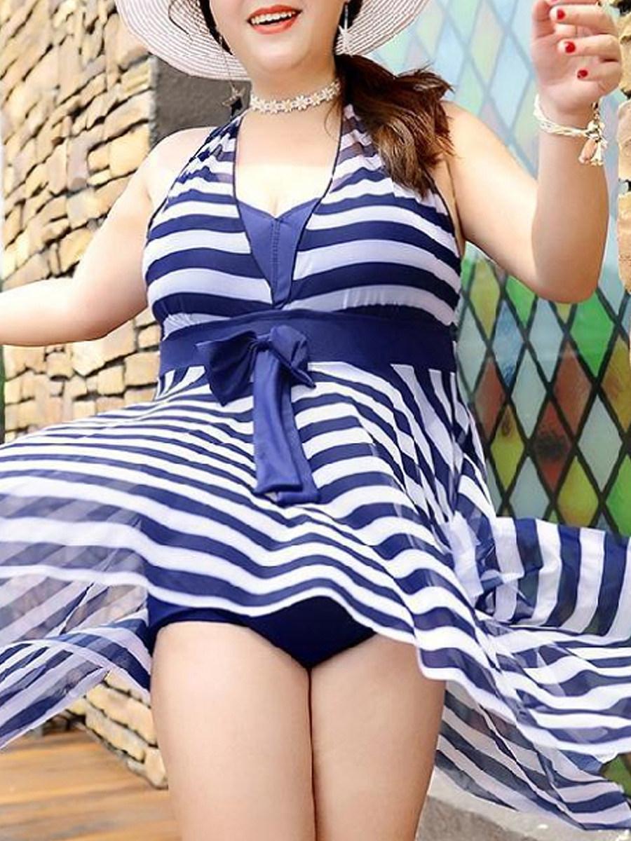 BerryLook V Neck  Striped One Piece Swimdresses For Women