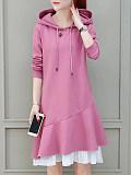 Hooded Patchwork Color Block Shift Dress - $16.95
