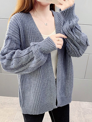 Patchwork Brief Plain Long Sleeve Knit Cardigan, 8881488