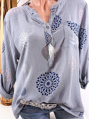 Band Collar Loose Fitting Print Blouses, 6653713