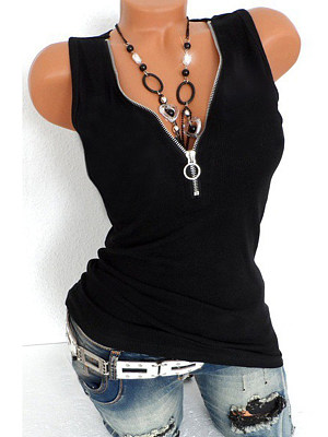 V Neck Racerback Zipper Plain Sleeveless T-Shirts