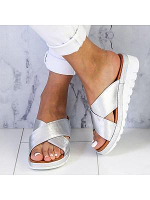 Plain Peep Toe Casual Comfort Slippers, 6938185