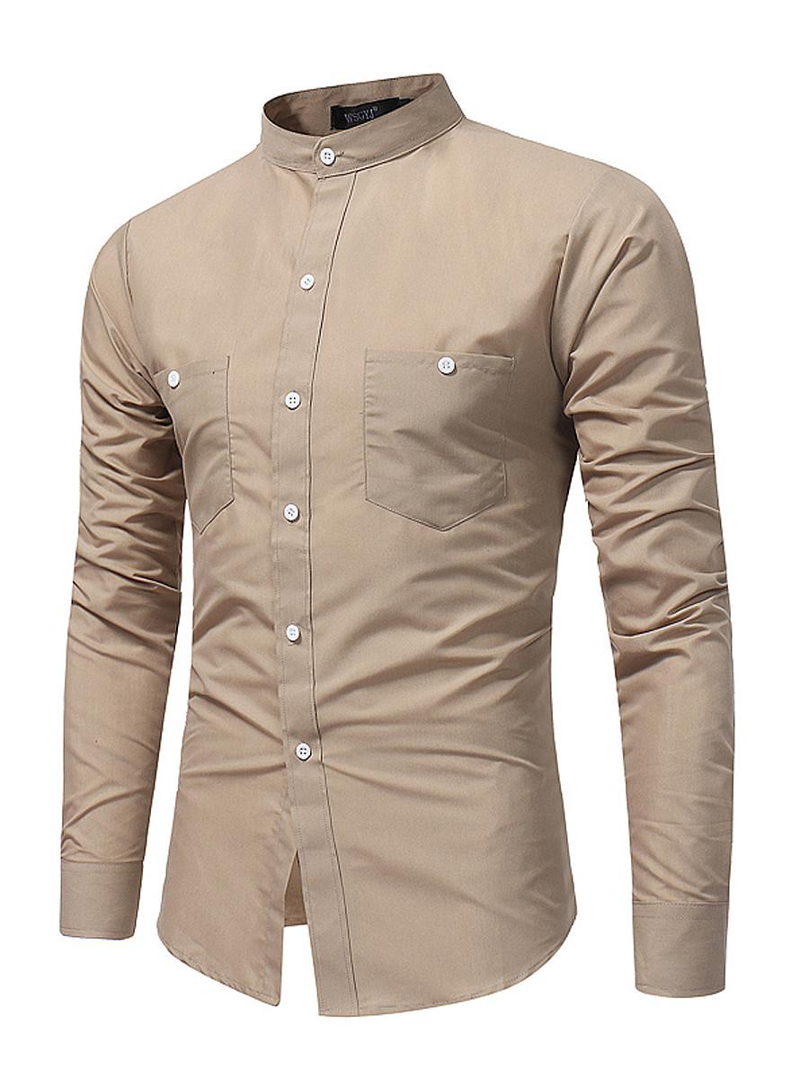 BerryLook Men Band Collar Patch Pocket Plain Shirts